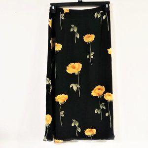 Talbots Silk Black Floral Pencil Skirt NWT